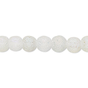 bead, coated glass, translucent matte clear ab, 7-8mm uneven round. sold per 16-inch strand.