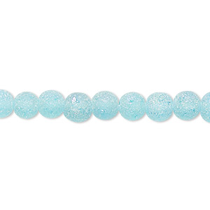 bead, coated glass, translucent matte turquoise blue ab, 5-6mm uneven round. sold per 16-inch strand.