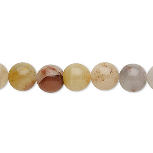 bead, colonial jasper (natural), 8mm round, b grade, mohs hardness 6-1/2 to 7. sold per 16-inch strand.
