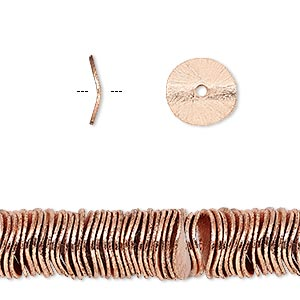 bead, copper, 10x2mm brushed wavy rondelle. sold per pkg of 20.