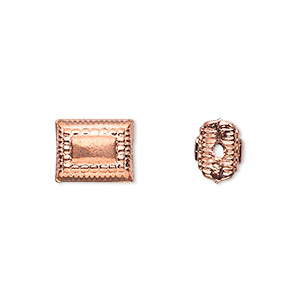 bead, copper, 11x9mm embossed puffed rectangle. sold per pkg of 8.