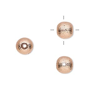 bead, copper, 8mm cross-drilled brushed round with lines. sold per pkg of 8.