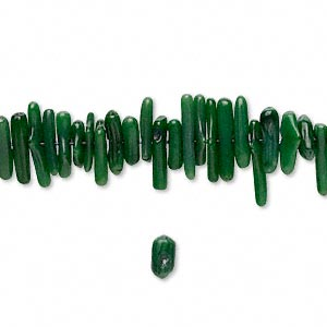 bead, coral (dyed / waxed), dark green, 7x1mm-18x3mm cupolini, mohs hardness 3-1/2 to 4. sold per 16-inch strand.