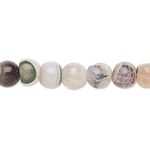 bead, crackle agate (dyed / heated), multicolored, 7-8mm round, c grade, mohs hardness 6-1/2 to 7. sold per 15-inch strand.
