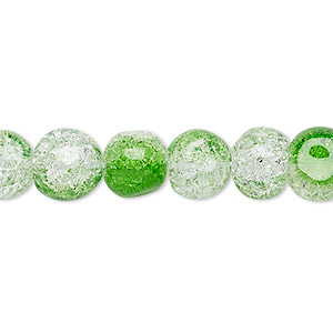 bead, crackle glass, clear with half-coat green, 9-10mm uneven round. sold per 15-inch strand.