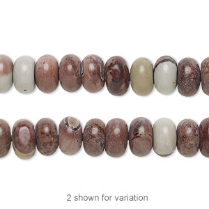 bead, crazy horse™ stone (natural), 8x5mm rondelle with 0.5-1.5mm hole, b grade, mohs hardness 3-1/2 to 4. sold per 16-inch strand.