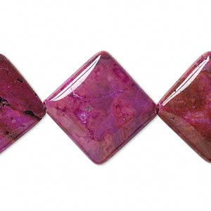 bead, crazy lace agate (dyed), fuchsia, 24x23mm puffed diamond, b grade, mohs hardness 6-1/2 to 7. sold per 16-inch strand.