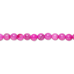 bead, crazy lace agate (dyed), fuchsia, 4mm round with 0.5-1.5mm hole, b grade, mohs hardness 6-1/2 to 7. sold per 16-inch strand.