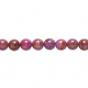 bead, crazy lace agate (dyed), fuchsia, 6mm round with 0.5-1.5mm hole, b grade, mohs hardness 6-1/2 to 7. sold per 16-inch strand.