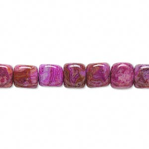 bead, crazy lace agate (dyed), fuchsia, 7x7mm cube, b grade, mohs hardness 6-1/2 to 7. sold per 16-inch strand.