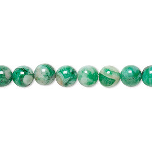 bead, crazy lace agate (dyed), green, 6mm round, b grade, mohs hardness 6-1/2 to 7. sold per 16-inch strand.