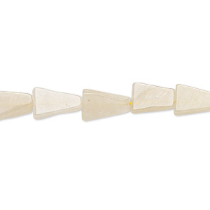 bead, cream quartz (natural), 9x9x6mm-12x12x8mm hand-cut flat triangle, d grade, mohs hardness 7. sold per 13-inch strand.