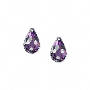 bead, cubic zirconia, amethyst purple, 12x8mm top-drilled faceted teardrop, mohs hardness 8-1/2. sold per pkg of 2.