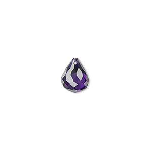 bead, cubic zirconia, dark purple, 10x8mm top-drilled faceted teardrop, mohs hardness 8-1/2. sold per pkg of 2.