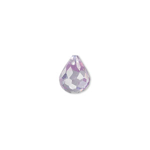 bead, cubic zirconia, lavender, 11x9mm top-drilled faceted teardrop, mohs hardness 8-1/2. sold per pkg of 2.