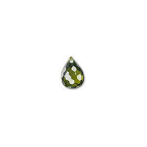 bead, cubic zirconia, olive green, 10x7mm top-drilled faceted teardrop, mohs hardness 8-1/2. sold per pkg of 2.