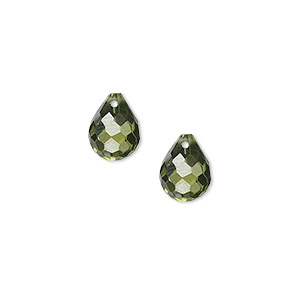 bead, cubic zirconia, olive green, 10x8mm top-drilled faceted teardrop, mohs hardness 8-1/2. sold per pkg of 2.