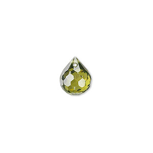 bead, cubic zirconia, olive green, 11x9mm top-drilled faceted teardrop, mohs hardness 8-1/2. sold per pkg of 2.