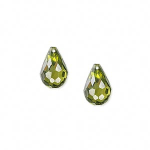 bead, cubic zirconia, olive green, 12x8mm top-drilled faceted teardrop, mohs hardness 8-1/2. sold per pkg of 2.