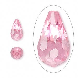bead, cubic zirconia, pink, 12x7mm half-drilled faceted teardrop, mohs hardness 8-1/2. sold individually.