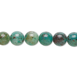 bead, cuprite in chrysocolla (natural), 8mm round with 0.5-1.5mm hole, b grade, mohs hardness 3 to 4. sold per 16-inch strand.