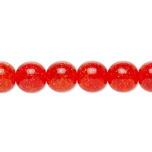 bead, czech crackle glass druk, orange, 10mm round. sold per 16-inch strand, approximately 40 beads.