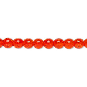bead, czech crackle glass druk, orange, 6mm round. sold per 16-inch strand, approximately 65 beads.