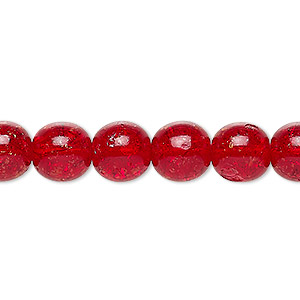 bead, czech crackle glass druk, ruby red, 10mm round. sold per 16-inch strand, approximately 40 beads.