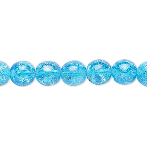 bead, czech crackle glass druk, turquoise blue, 8mm round. sold per 16-inch strand, approximately 50 beads.