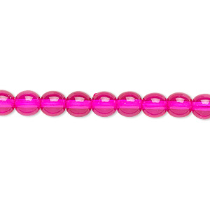 bead, czech dipped decor glass druk, hot pink, 6mm round. sold per 16-inch strand.