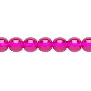 bead, czech dipped decor glass druk, hot pink, 8mm round. sold per 16-inch strand.