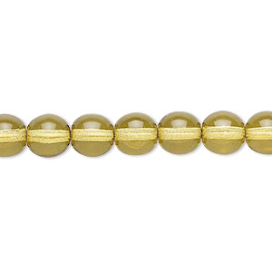bead, czech dipped decor glass druk, olive, 8mm round. sold per 16-inch strand.