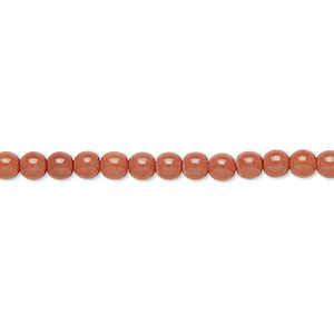 bead, czech dipped decor glass druk, rose, 4mm round. sold per 16-inch strand.