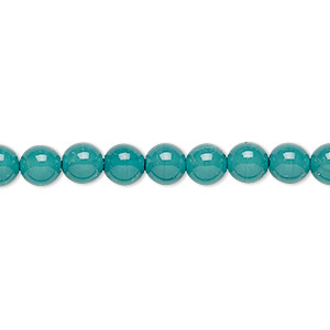 bead, czech dipped decor glass druk, teal, 6mm round. sold per 16-inch strand.