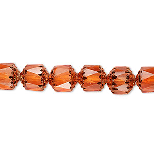 bead, czech dipped decor glass, tangerine apollo, 8mm round cathedral. sold per 16-inch strand.