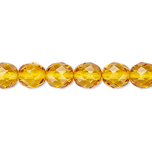 bead, czech fire-polished dipped decor glass, honey, 8mm faceted round. sold per 16-inch strand, approximately 50 beads.