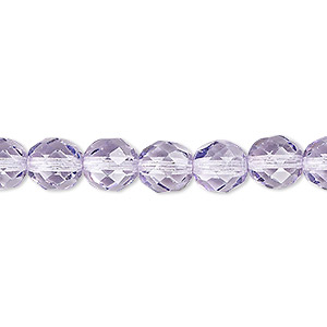 bead, czech fire-polished dipped decor glass, lilac, 8mm faceted round. sold per 16-inch strand, approximately 50 beads.