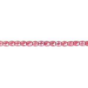 bead, czech fire-polished dipped decor glass, pearlescent dusty rose, 3mm faceted round. sold per 16-inch strand.