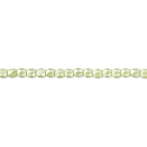 bead, czech fire-polished dipped decor glass, pearlescent lime green, 3mm faceted round. sold per 16-inch strand.