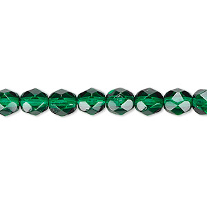 bead, czech fire-polished dipped decor glass, teal, 6mm faceted round. sold per 16-inch strand, approximately 65 beads.