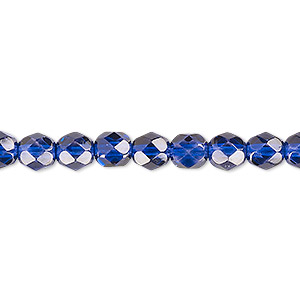 bead, czech fire-polished dipped decor glass, translucent cobalt, 6mm faceted round. sold per pkg of 1,200 (1 mass).