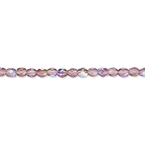 bead, czech fire-polished glass, amethyst purple ab, 3mm faceted round. sold per pkg of 1,200 (1 mass).