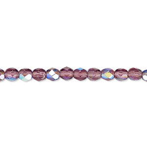 bead, czech fire-polished glass, amethyst purple ab, 4mm faceted round. sold per 16-inch strand.