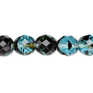bead, czech fire-polished glass, black and turquoise blue, 10mm faceted round. sold per 16-inch strand, approximately 40 beads.