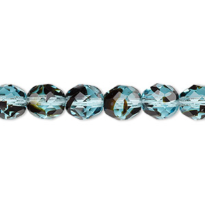bead, czech fire-polished glass, black and turquoise blue, 8mm faceted round. sold per 16-inch strand, approximately 50 beads.