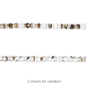 bead, czech fire-polished glass, clear / black / brown, 3mm faceted round. sold per 16-inch strand.