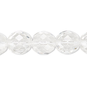 bead, czech fire-polished glass, clear, 12mm faceted round. sold per 16-inch strand, approximately 35 beads.