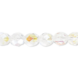 bead, czech fire-polished glass, clear ab. 8mm faceted round. sold per pkg of 600 (1/2 mass).
