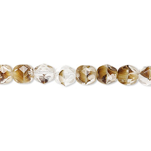 bead, czech fire-polished glass, clear and brown, 6mm faceted round. sold per 16-inch strand, approximately 65 beads.
