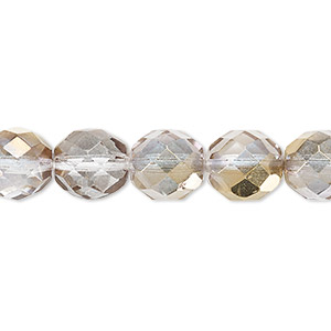 bead, czech fire-polished glass, clear and metallic gold, 10mm faceted round. sold per 16-inch strand.